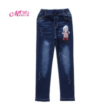 2018 New Brand Winter Girls Jeans Kids Clothing Fashion Cashmere Denim Pants Children's Thick Warm Trousers 4 6 8 10 11 12 Years