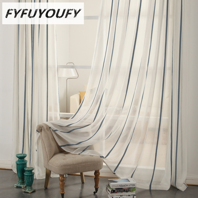 Cotton And Linen Striped Embroidered Voile Curtains For Living Room Sheer  Curtain For Bedroom Luxury French