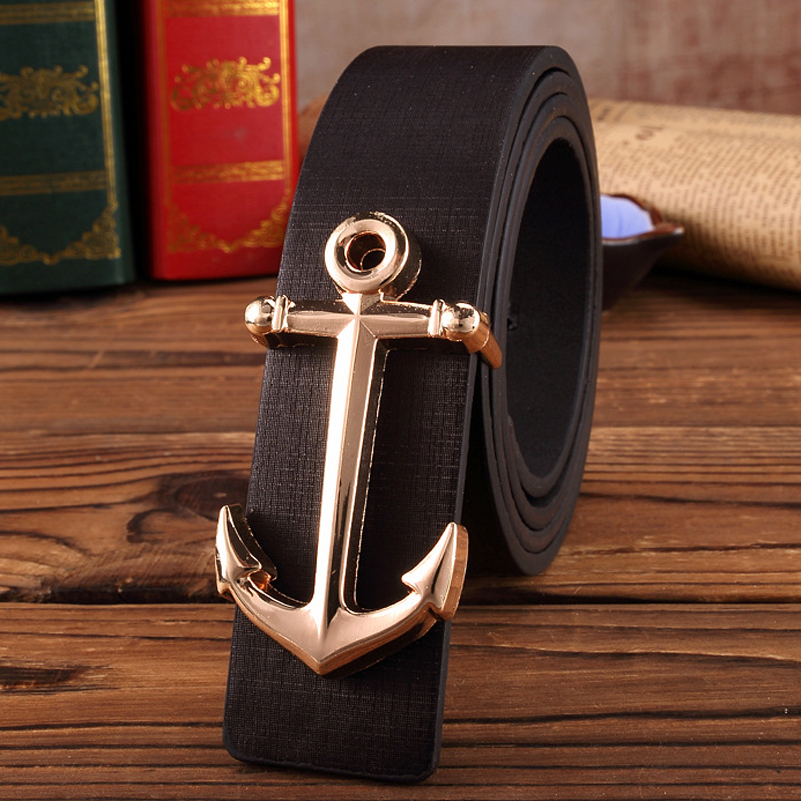 2019 Designer Man H Buckle Brand Faux Leather Belt Fashion Male Belts With Golden Anchor Buckle For Men And Women Jeans Belt Hot