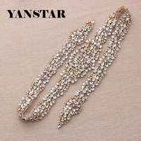 1PIECE Full Length Rhinestones Appliques Rose Gold Sliver Clear Crystal Beads Sew On For Wedding Party