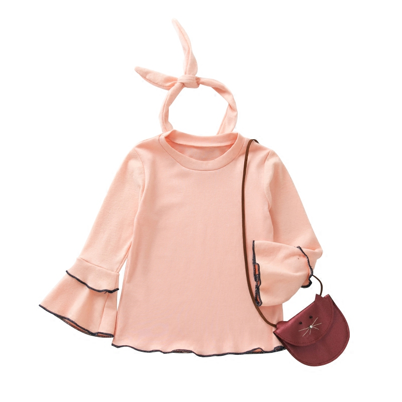 Korean pure color Children T shirt Girls casual comfortable tops spring Autumn o-neck Long sleeve baby Girls Tshirt kids clothes