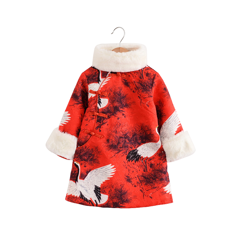 winter thick warm cheongsam china tang hanfu children traditional ancient folk costume age 2-8 yrs little girl long sleeve dress girl clothing dress 2018 chinese style autumn and winter high collar long sleeve printing thick warm cheongsam children s dress