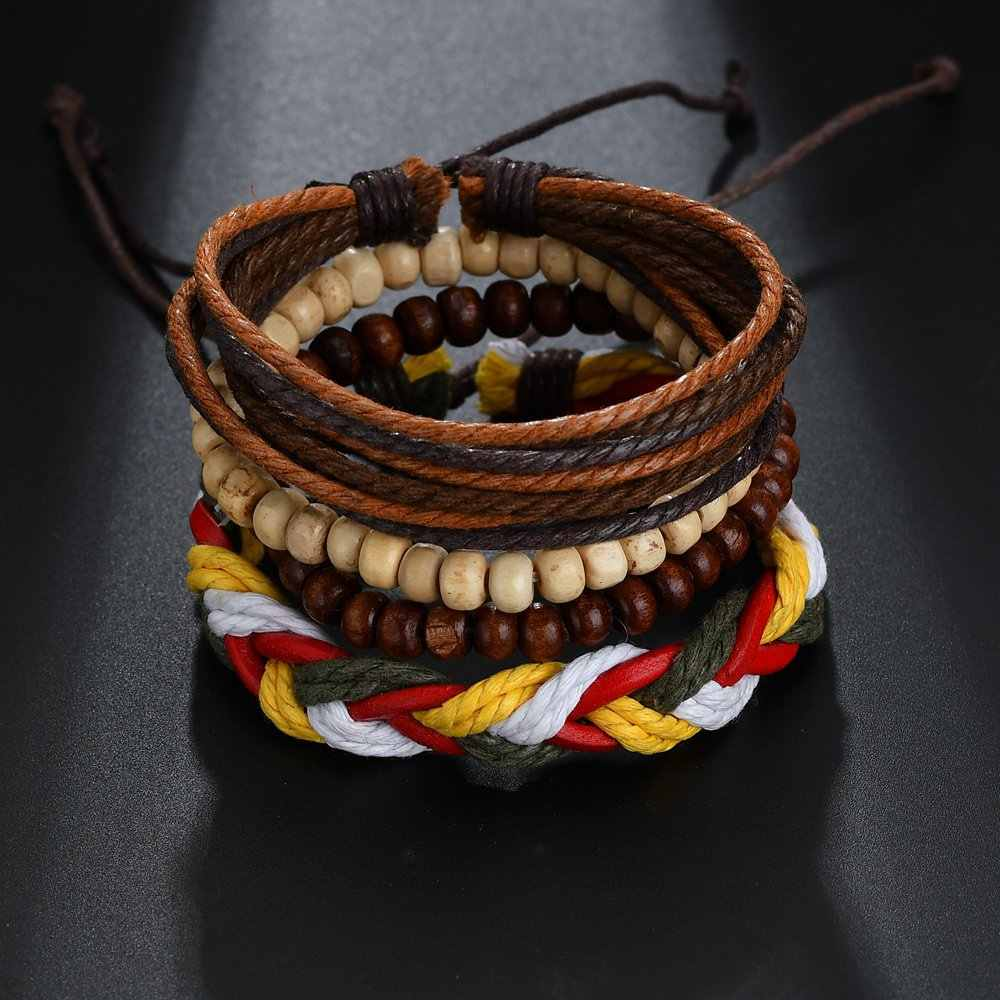 High Quality 4 pcs Multilayer Beads Leather Bracelet for Women Simple Style Handmade Hemp Rope Wrap Bracelet Men Jewelry Gift