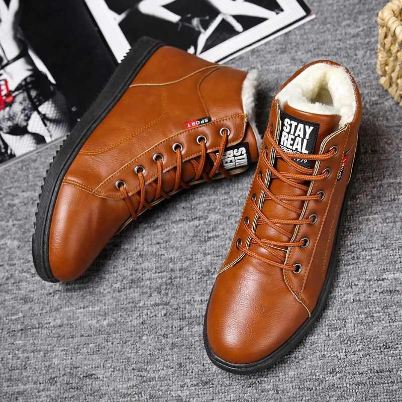 2018 Kış Kürk Sıcak Erkek Botları Erkekler Için rahat ayakkabılar Yetişkin Çalışma Kaliteli Yürüyüş Kauçuk Marka koruyucu ayakkabılar Ayakkabı öğrenci