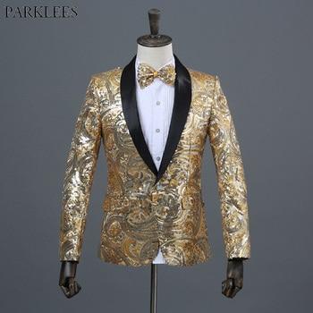Shiny Floral Sequin Glitter Shawl Collar One Button Blazer Jacket Men 2018 Brand New Wedding Stage Prom Nightclub Costume Homme
