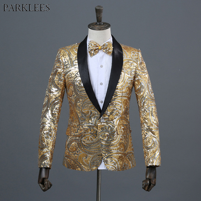 Shiny Floral Sequin Glitter Shawl Collar One Button Blazer Jacket Men 2018  Brand New Wedding Stage Prom Nightclub Costume Homme ff6627434d66