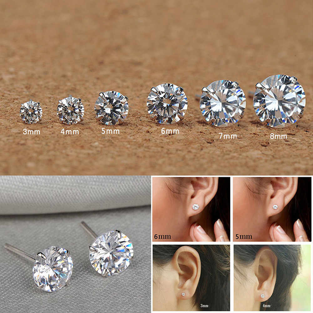 6 Pair /Set Fashion Women Girl Silver Zircon Crystal Rhinestone Ear Stud Earrings Shiny Simple Party Earring Jewelry 6 size
