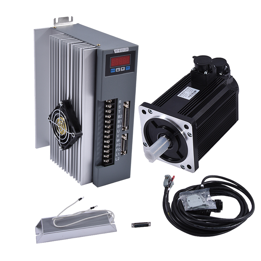 3.8KW 15N.M 2500RPM AC Servo Motor 130ST-M15025 22mm 220V AC Servo Motor+AC Servo Drive +3M Cable kit High quality 57 brushless servomotors dc servo drives ac servo drives engraving machines servo
