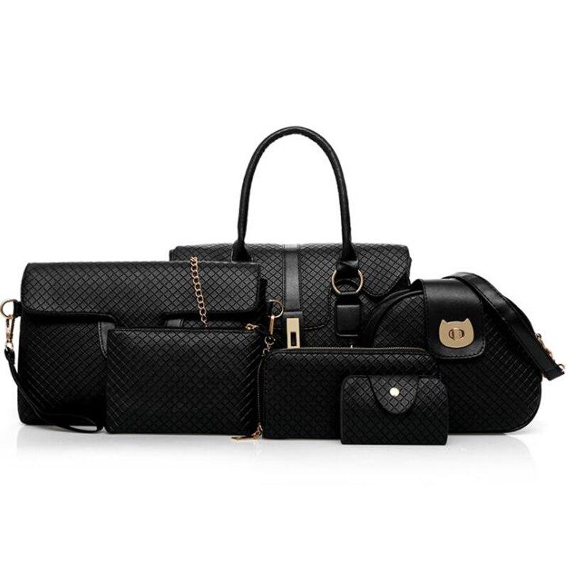 2019 treillis femme sac à main créateur de mode haute capacité Composite sac 6 pièces/ensemble de femmes sacs dame sacs à main épaule l8-423