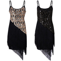 New Bohemia Style Summer Women Spaghetti Strap Dress Bodycon Sequined Tassel Layered Party Dress Gatsby Fringe