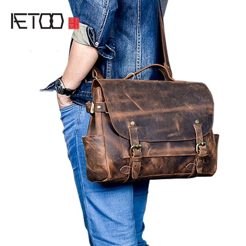 AETOO Men s retro British style hand Crafted leather cowhide Messenger Messenger bag shoulder bag