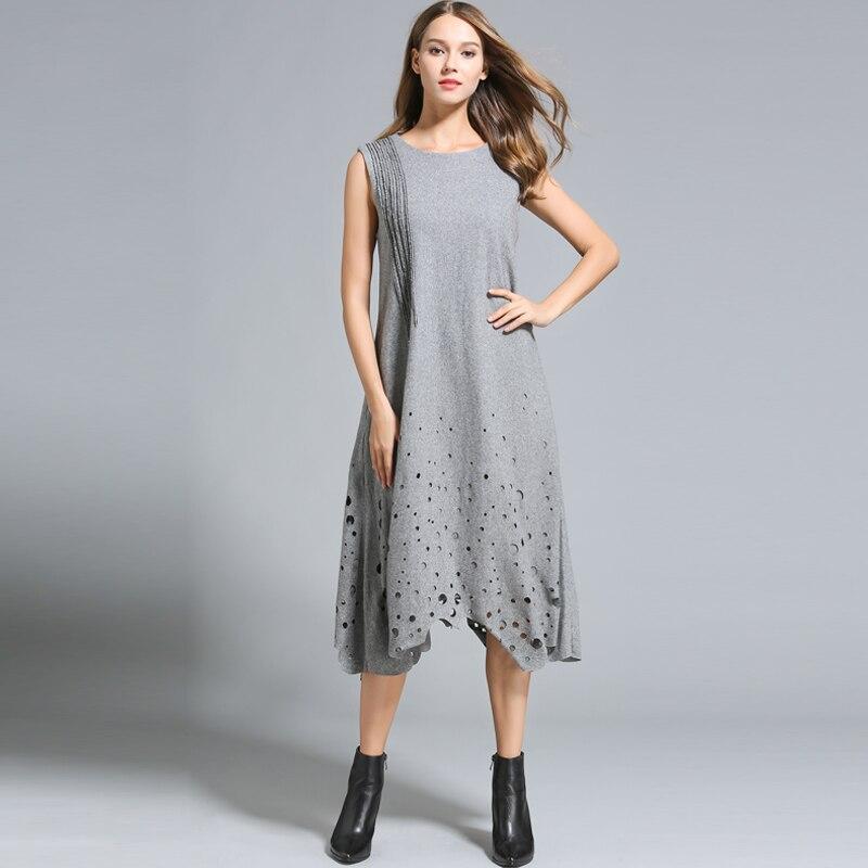 Sonbahar kış elbiseler kadın Kolsuz Hollow out Uzun Gevşek tarzı - Bayan Giyimi - Fotoğraf 3