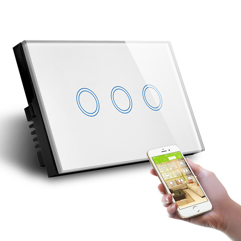 Three Gang WiFi Control Wall Switch US AU Standard Touch Control by APP L and N