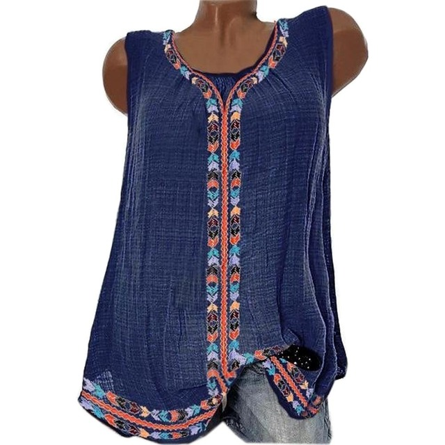 Fashion Ethnic Print Ladies Tops Sleeveless Blouse O-Neck Women Tops Tunic Womens Tank Tops And Blouses Boho Clothing