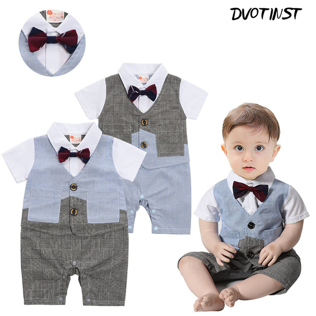 5e3b20eda Baby Boys Gentleman Bow Tie Short Sleeve Romper Outfit Suit Infantil Wedding  Event Jumpsuit Party Birthday Clothing Costume