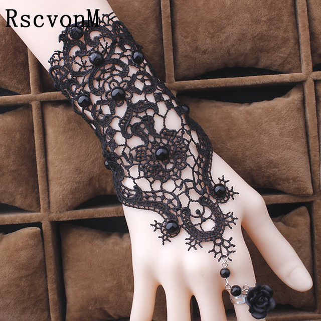 2018 Fashion Gothic Tattoo Tassel Lace Rose Bracelet Classical Women's Retro Vin