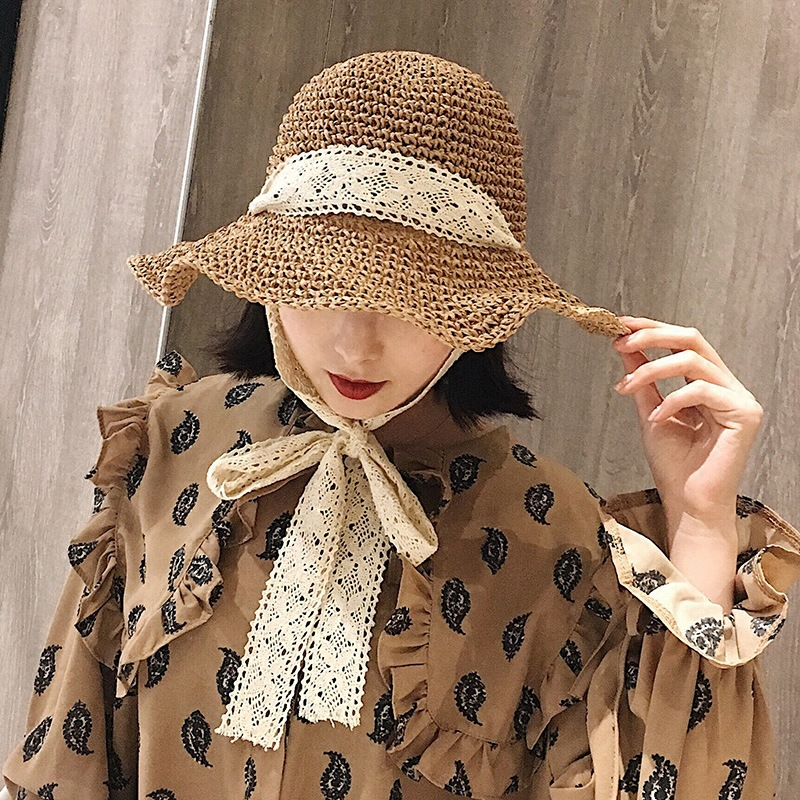 01903-C2538 2019 new summer handmade paper lace ribbon lady bucket cap women leisure hat