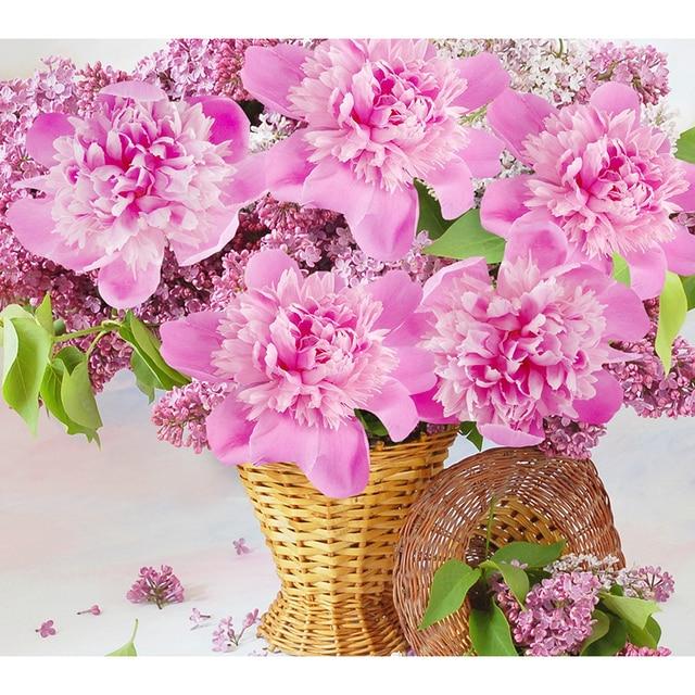 전체 드릴 다이아몬드 그림 크로스 스티치 다이아몬드 자수 핑크 스톤 홈 장식 hl735 pony 꽃 패턴 사진