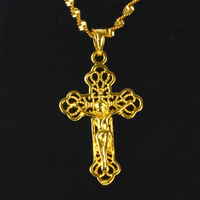 Jesus Cross Pendant Yellow Gold Filled Bronze Stylish Small Crucifix Necklace With Water Wave Chain