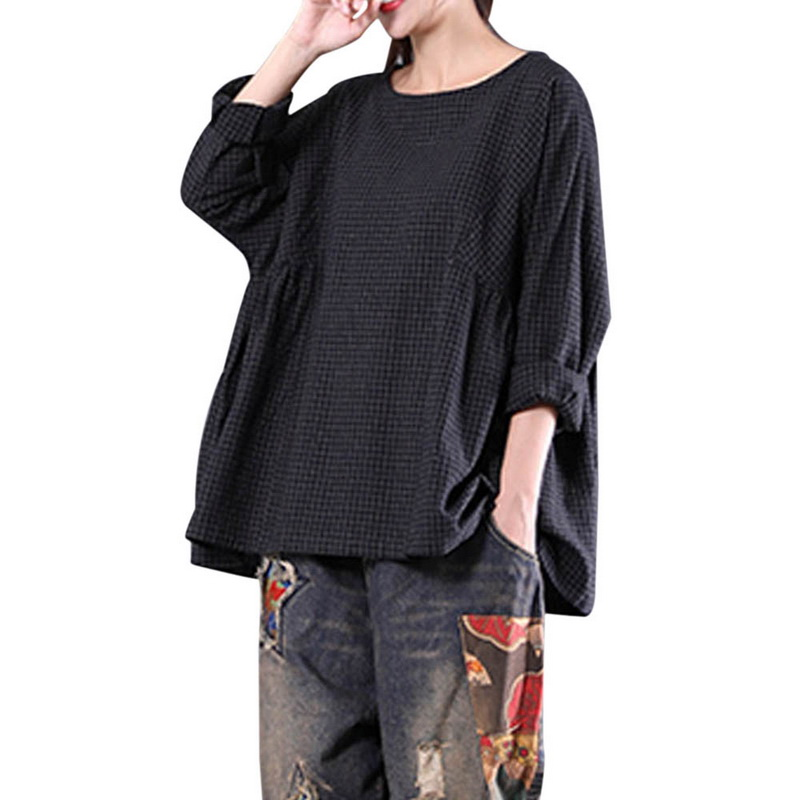 Laamei 2018 Autumn Blusas Tops Women Vintage Plaid O-Neck Long Sleeve Cotton Linen Casual Party Pleated Plus Size Blouse Shirts