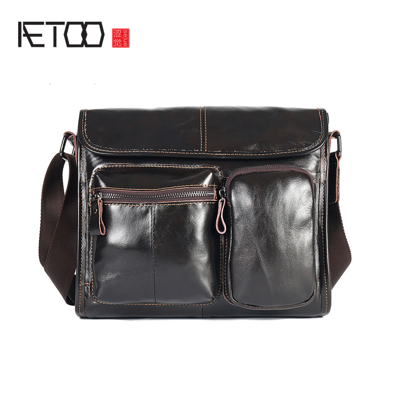 AETOO Leather men bag horizontal shoulder bag retro cowhide men Messenger bag leisure postman package prius brand men s casual package high end fashion 2017 new men s package shoulder bag men messenger bag shoulder bag
