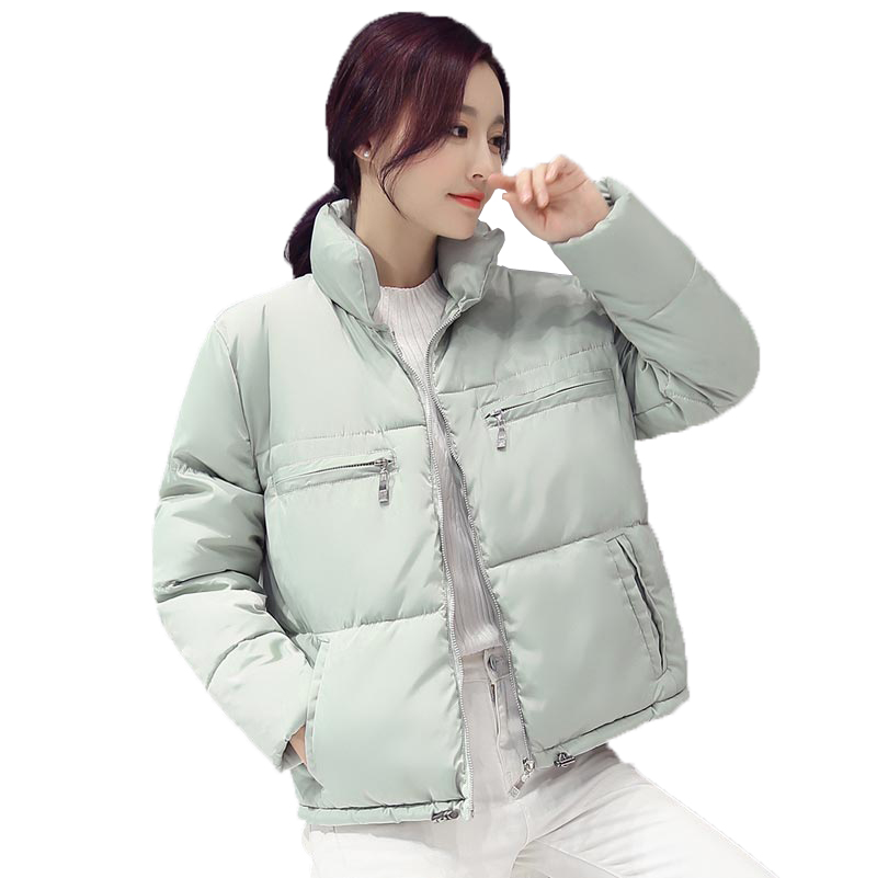 ФОТО autumn winter new loose short cotton-padded jacket coat women stand collar casual down jacket plus size wadded outerwear kp0812