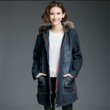 2017 Women's Winter Removable Fur Collar thickening cotton Padded Denim Jacket Plus Size 4XL Hooded Jeans Coat A1644
