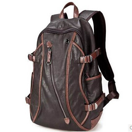 09216e04d96a 2015 waterproof male fashionable leather backpack middle school students  school bag large capacity backpack man for 15