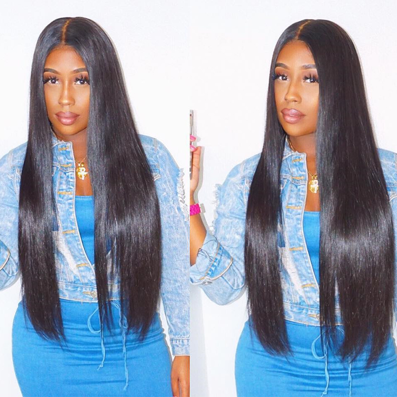 13x6 Lace Front Human Hair Wigs For Women Natural Black 250 Density Brazilian Straight Glueless Lace