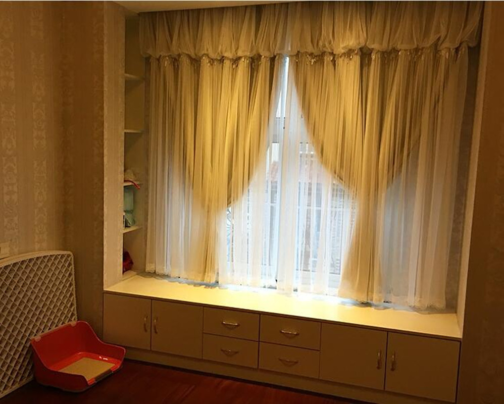 Solid Bay Window Blackout Curtains For Living Room Beaded