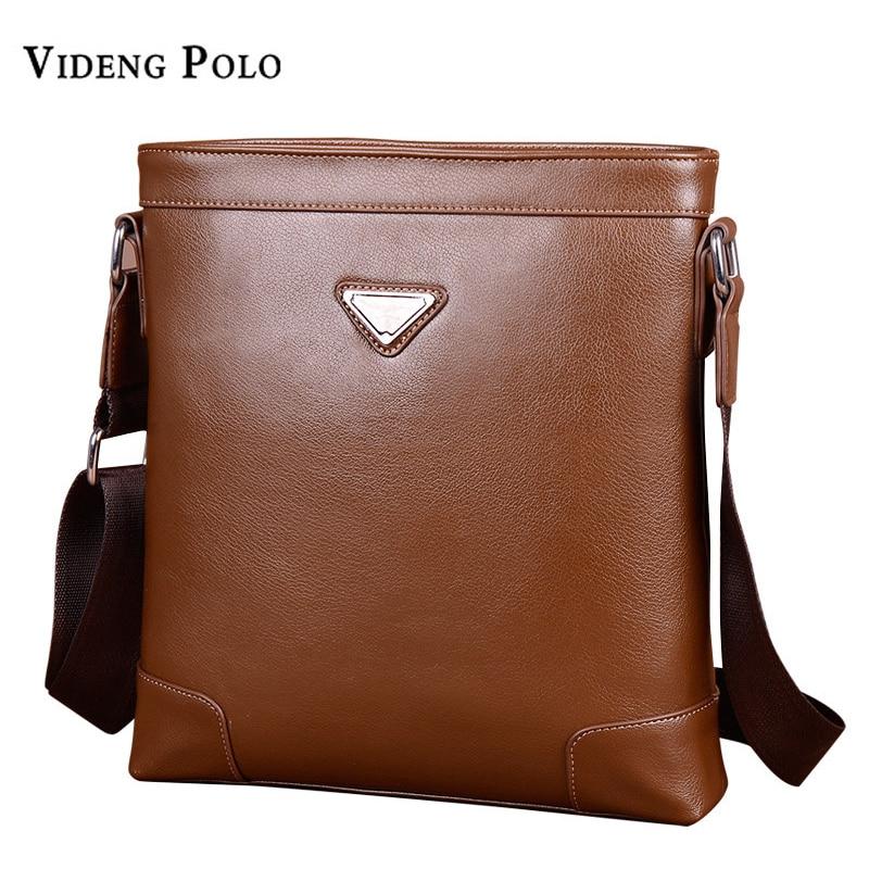 VIDENG POLO Brand Men Fashion High Quality Soft Leather Mans Vintage Crossbody Bag Office Shoulder Bags Business Messenger Bag