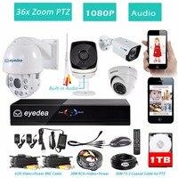Eyedea 8 CH HDMI DVR NVR Recorder 1080P 5500TVL Audio 36x Zoom PTZ Control Night Vision