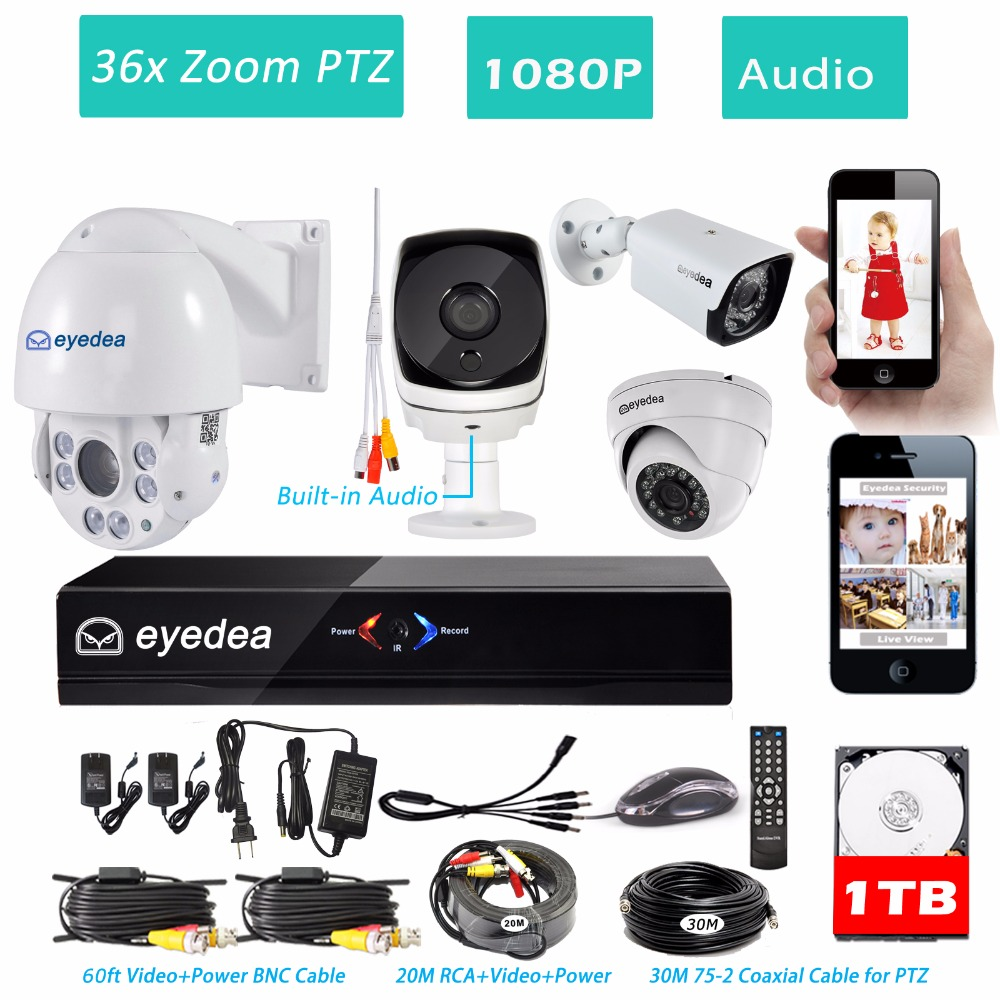 Eyedea 8 CH HDMI DVR NVR Recorder 1080P 5500TVL Audio 36x Zoom PTZ Control Night Vision Outdoor CCTV Security Camera System 1TB mother s day eyedea 8 ch phone monitor video dvr recorder 2 0mp bullet outdoor led night vision cctv security camera system 2tb