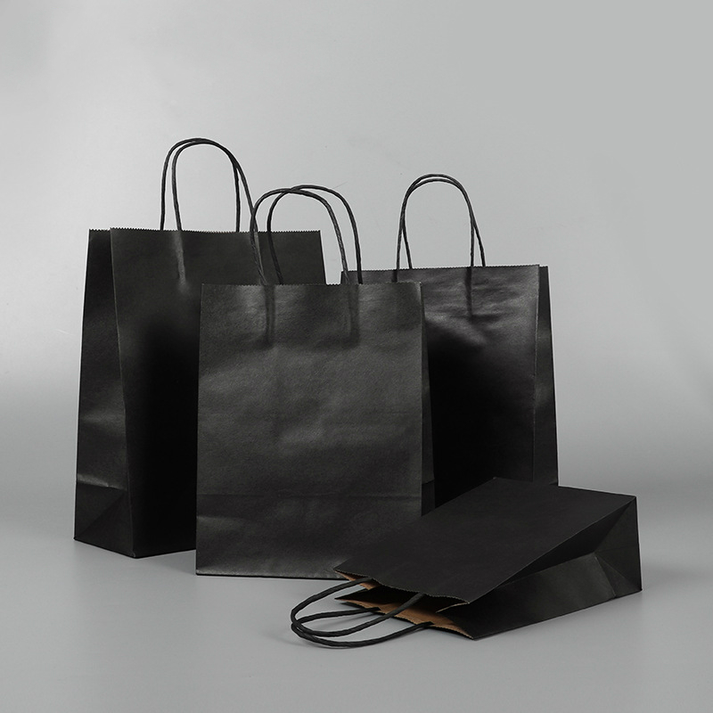 10pcs/lot High Quality Kraft Paper Bag With Handles Elegant Black Packaging Bags For Wedding Birthday Party Jewelry Paper Bags
