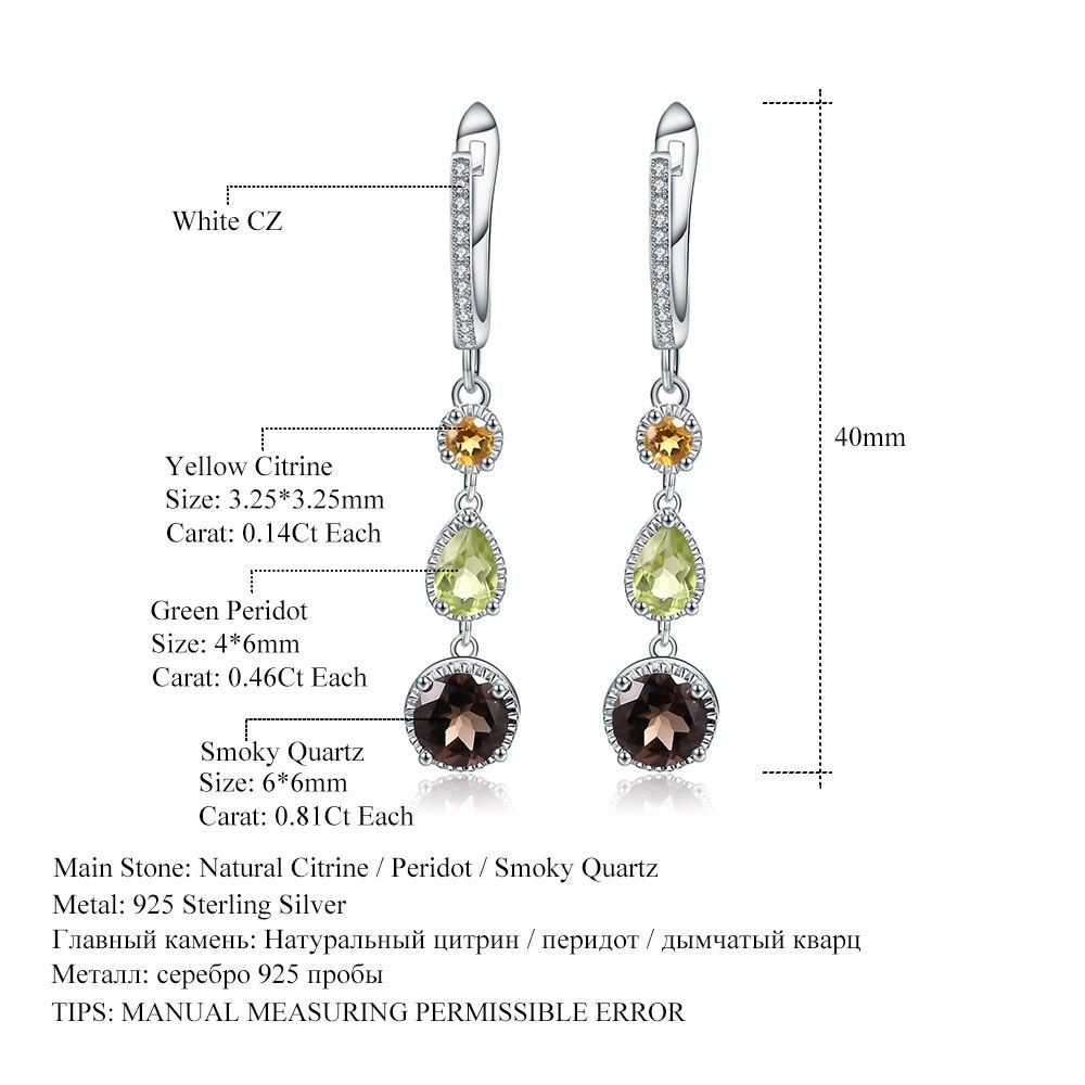 Gem's Ballet 925 Sterling Silver Earrings Fine Jewelry Natural Citrine Peridot Smoky Quartz Drop Earrings For Women Wedding
