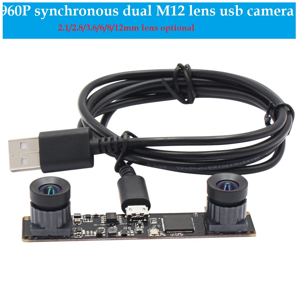 Synchronous Dual Lens USB Camera MJPEG 60fps 960P Stereo Mini Board Camera Module Free Driver with M12 lens for VR Camera insta360 air 3k hd 360 camera dual lens panoramic camera compact mini vr camera for samsung oppo huawei lg andriod smartphone