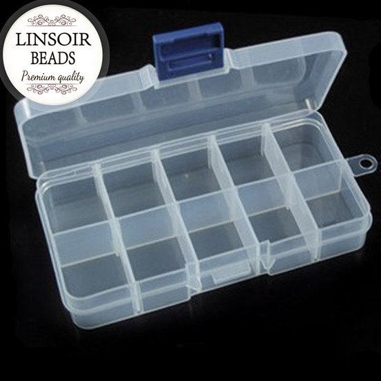 Wholesale Jewelry  Boxes White Plastic Tool Box Adjustable 10 Slots Craft Organizer Storage Beads Bracelet Jewelry Boxes F664