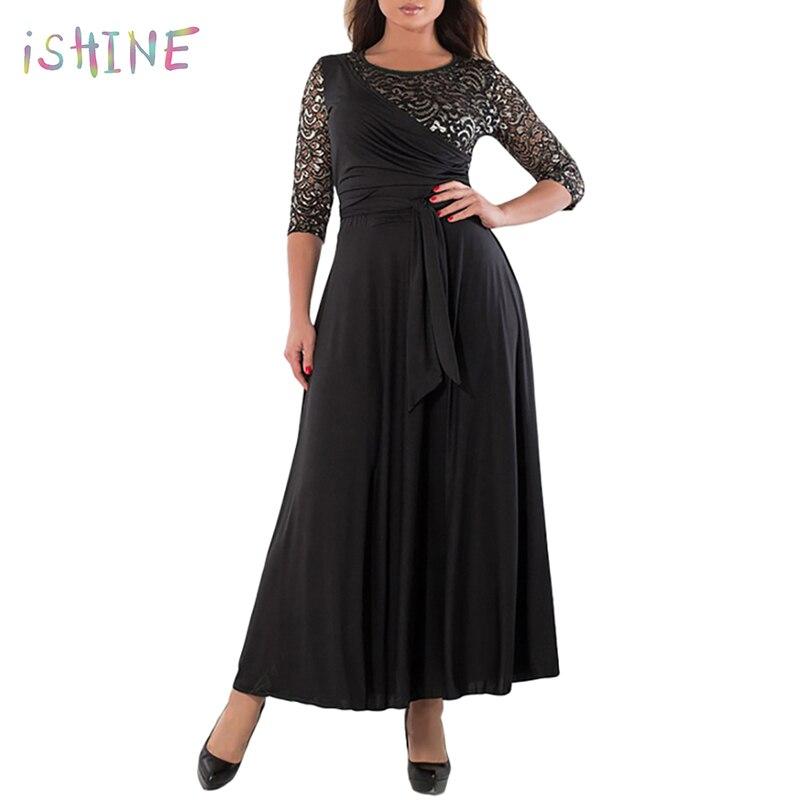 Large Size New Women Long Dress Maxi Winter Big Size Lace Patchwork Dress Plus Size Sexy Lace Piecing Flare Party Dress XL-6XL