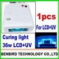 1 шт. лучше Материал, 36 Вт Леча uv свет Ультрафиолетовой лампы испечь loca клей для отреставрировать жк, для samsung, для iphone B4058