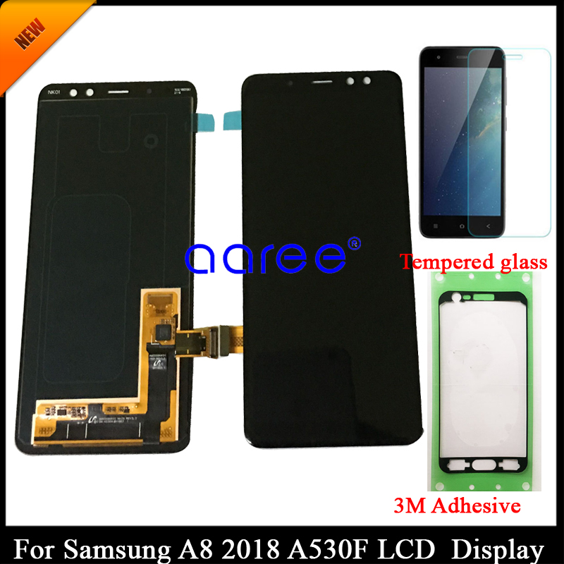 100 tested Super AMOLED For SAMSUNG A8 2018 A530 LCD For SAMSUNG A530 A530F A530D Display