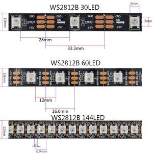 Image 4 - DC5V 1 متر/2 متر/3 متر/4 متر/5 متر WS2812B 30/60/144 المصابيح/متر الذكية Led قطاع أسود/أبيض PCB WS2812 IC مقاوم للماء فردي عنونة شرائط