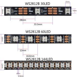 Image 4 - Tira de luces Led inteligentes DC5V 1m/2m/3m/4m/5m WS2812B 30/60/144Leds/m, PCB Blanco/Negro WS2812 IC, resistente al agua, direccionable individualmente