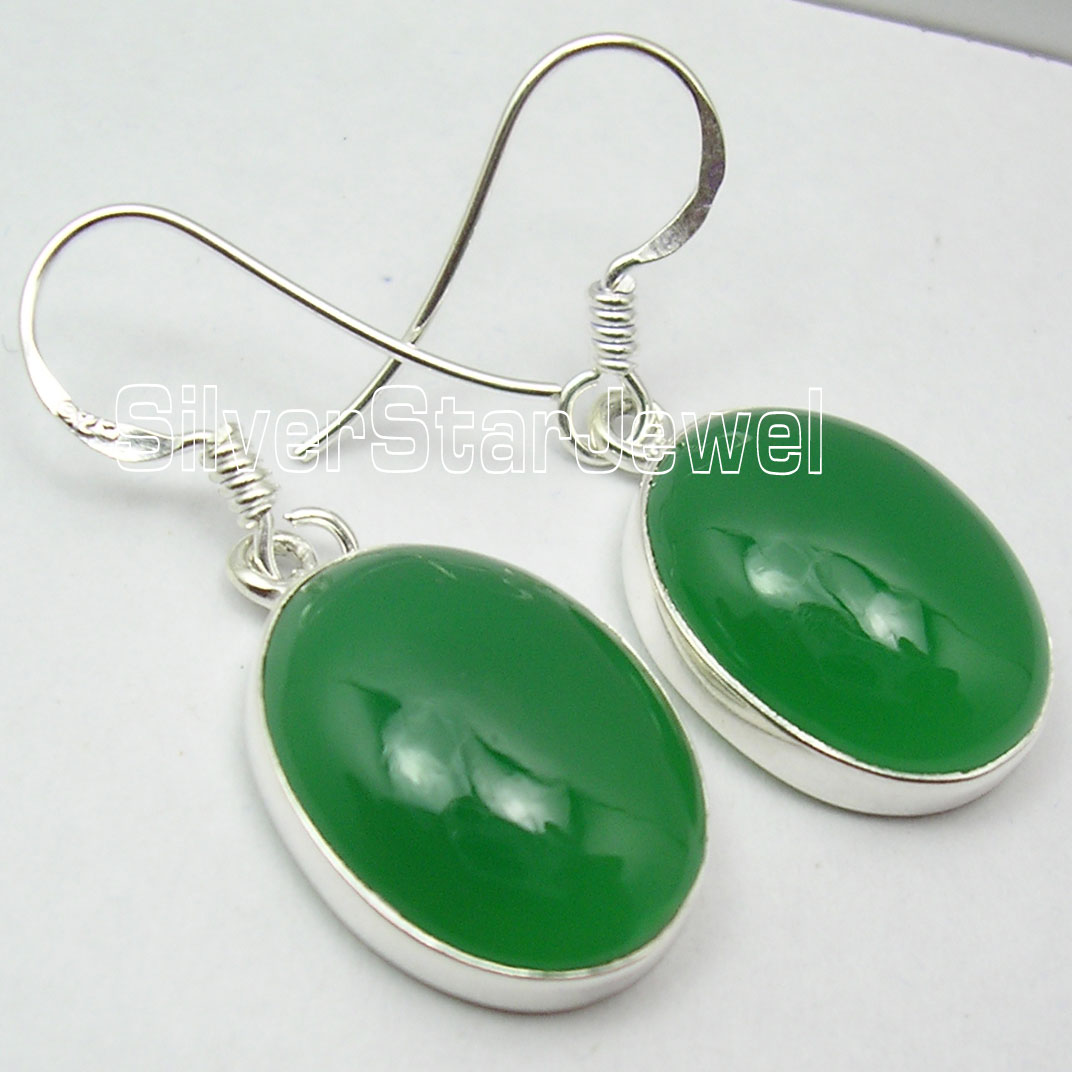 Chanti International Silver Sparkling GREEN ONYX BIG Dangle HANDMADE Earrings 3 3 CM NEW
