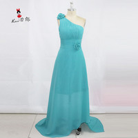 Cheap Turquoise Bridesmaid Dresses Long one Shoulder Flowers Wedding Guest Dress Chiffon See Through Robe Demoiselle d'honneur