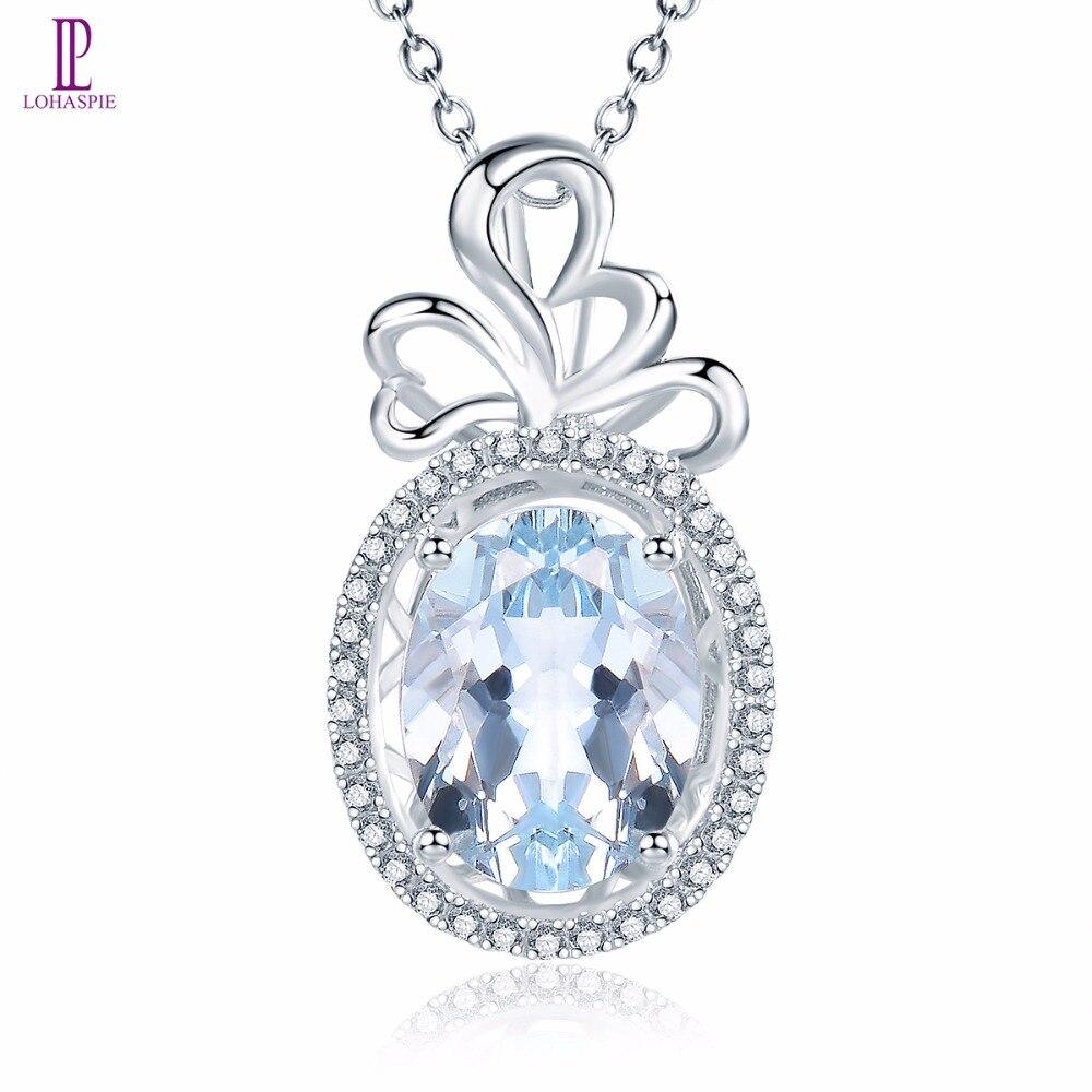 Lohaspie Diamond-Jewelry Solid 18K 750 White Gold Natural Gemstone Aquamarine Pendant For March Birthday Gift W/ Silver Chain