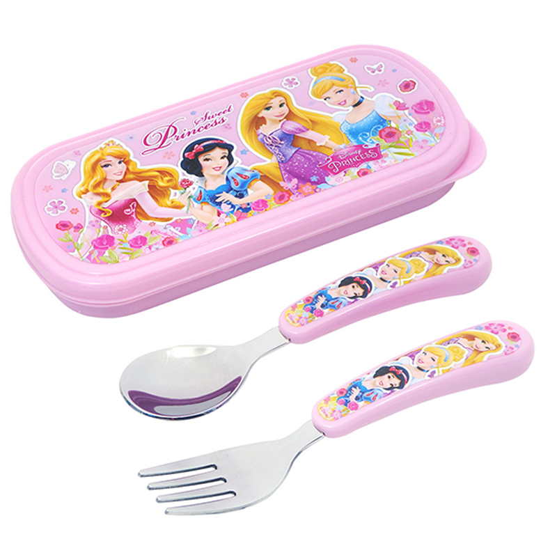 Disney Classic Princess Children Fork Spoon Set 2 Pieces Creative Cartoon Face Stainless Steel Cutlery Set four pieces of stainless steel scale capsule coffee spoon