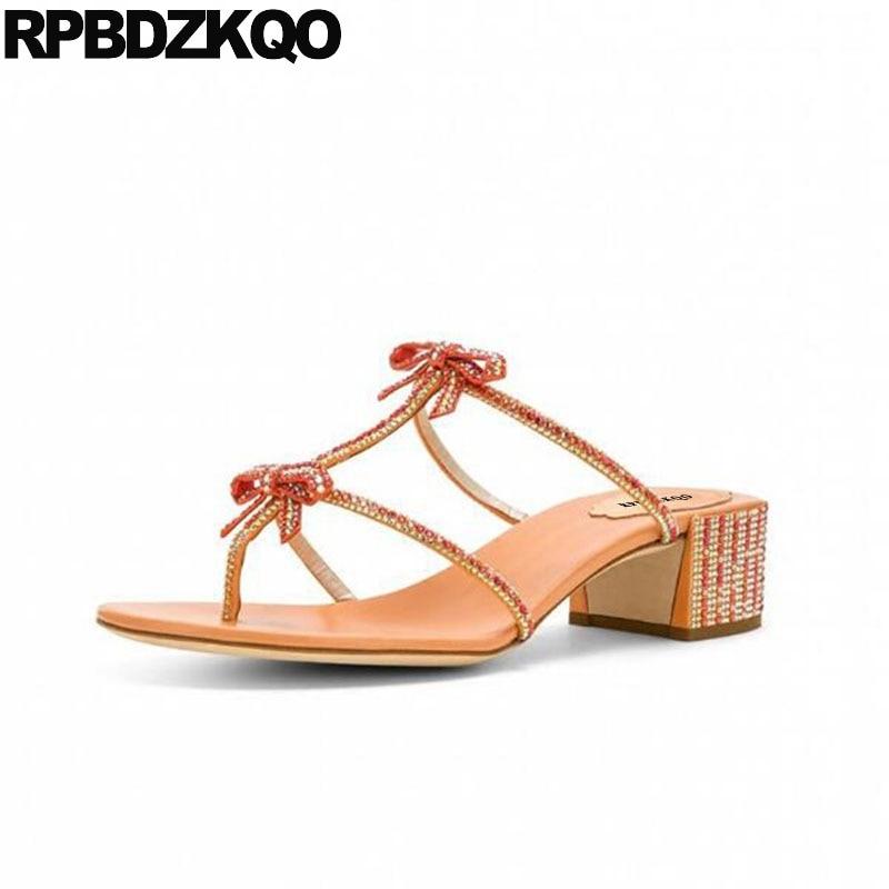 68016712e8db9 Thong Bowtie Square Wedding Women Sandals 2018 Summer Crystal Low Heel  Shoes Rhinestone Slides Roman Gladiator Diamond Bow Block