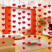 16 сердец с веревкой романтическое свадебное украшение для свадебной комнаты макет DIY гирлянда креативная любовь занавес свадебные принадлежности