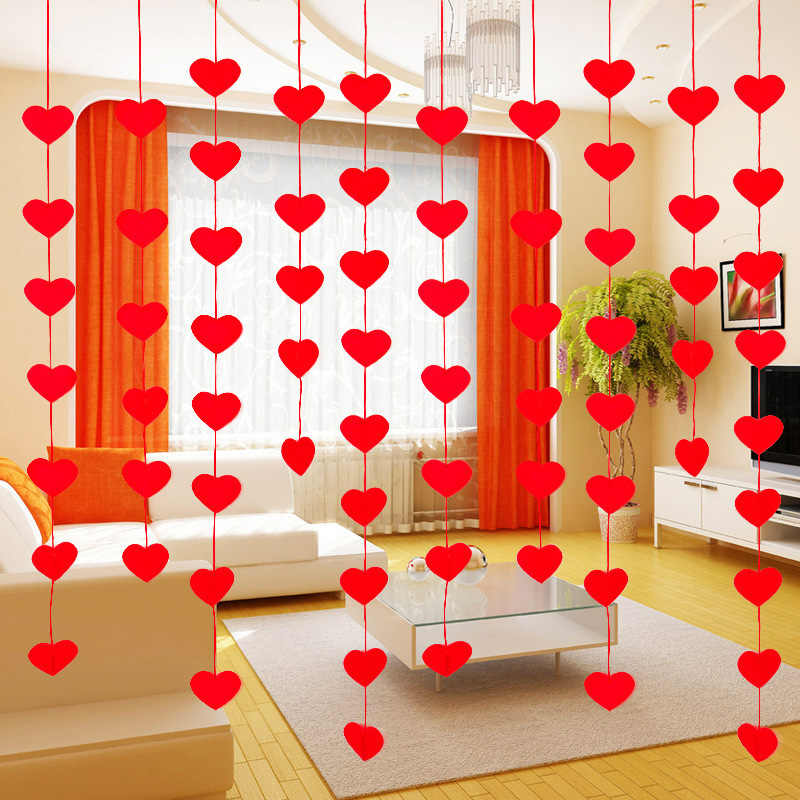 16 Hearts With Rope Romantic Wedding Decoration Marriage Room Layout DIY Garland Creative Love Curtain Wedding Supplies