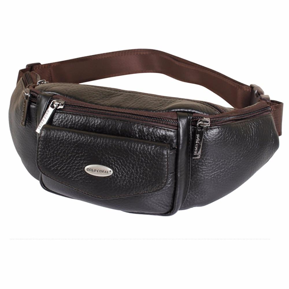 Vintage Cowhide Waist Bag Men Belt Cell/Mobile Phone Wallet Bags Casual Hip Fanny Pack Genuine Leather Single Chest Back Pack
